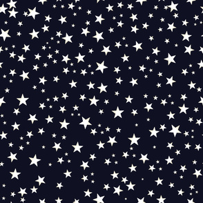 Shining Golden and White Colored Stars. Night and Stars Pattern