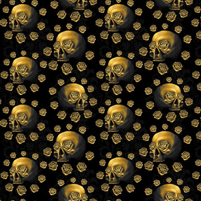 Gold skulls damask very small