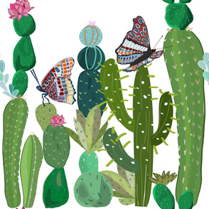 Cactus, Succulents and Butterflies Tropical Pattern