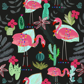 Flamingo and Cactus. Tropical Flowers Pattern