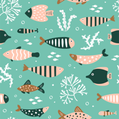 Patterned Fish on Green