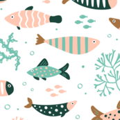 Patterned Fish on White