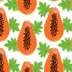 Papaya fruit with leaves