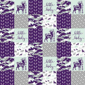 """(3"""" small scale) You are so deerly loved / little lady - purple and mint camo - woodland patchwork C19BS"""