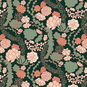 Succulent Waltz {Peach} -medium scale
