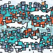 Fish Color Blocking Aqua Rust