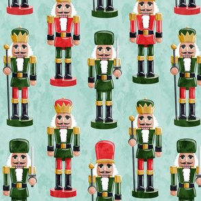 Nutcrackers - red and green on aqua - Christmas fabric - Soldier nutcrackers- LAD19