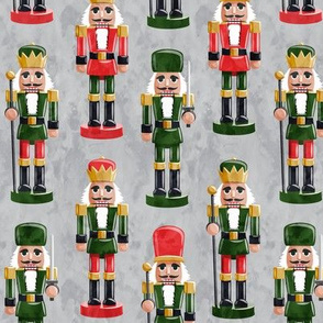 Nutcrackers - green and red on grey - Christmas fabric - Soldier nutcrackers- LAD19