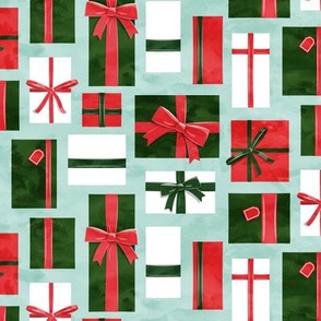 gifts - presents in red and pink on aqua - LAD19