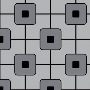 Mid Century Grid Cube / Grey & Black