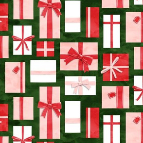 gifts - presents in red and pink on green - LAD19