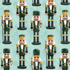 Nutcrackers - green on mint - Christmas fabric - Soldier nutcrackers- LAD19