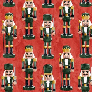 Nutcrackers - green on red - Christmas fabric - Soldier nutcrackers- LAD19