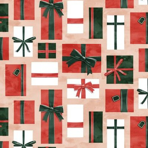 gifts - presents in red and green on blush - LAD19