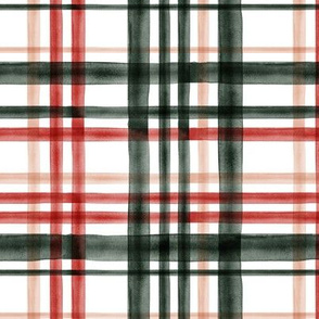 watercolor plaid - red, green and blush - LAD19