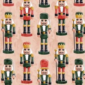 Nutcrackers - red and green on blush - Christmas fabric - Soldier nutcrackers- LAD19