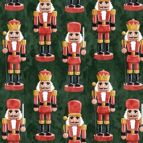 Nutcrackers - red on green - Christmas fabric - Soldier nutcrackers- LAD19