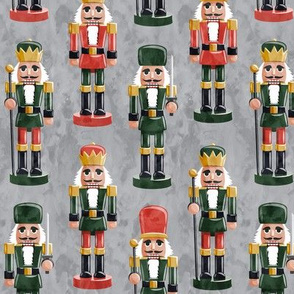 Nutcrackers - red and green on grey - Christmas fabric - Soldier nutcrackers- LAD19