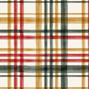 Christmas Plaid - Green, red, gold on cream - LAD19