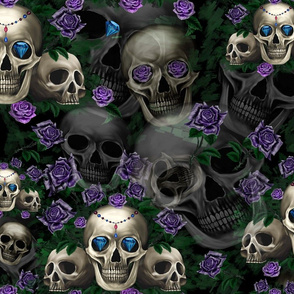 Skull and purple roses large