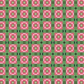 Pixeled Squares - Green and red