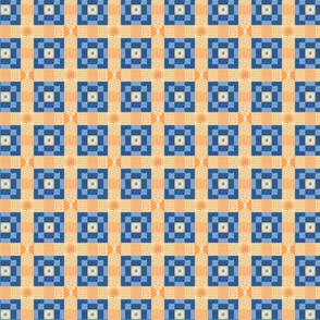Pixeled Squares - Blue and yellow