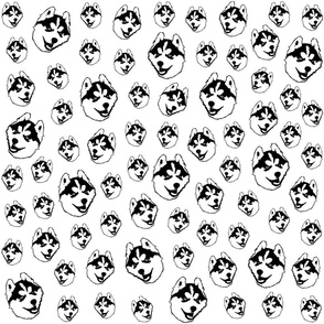 Husky Dog black and white fabric