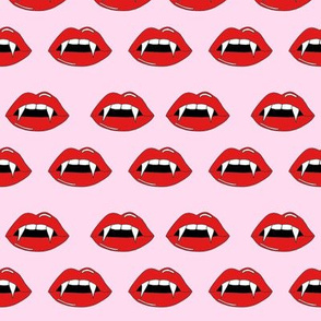 vampire lips - teeth, lip,  lips, halloween, halloween scary, spooky -pink and red