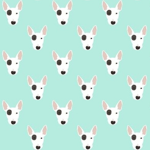 bull terrier dog fabric - eye patch dog, dog fabric, dogs, terrier dog - mint