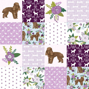 toy poodle cheater quilt - brown toy poodle, poodle fabric, poodle design