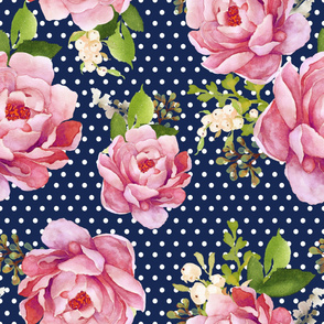 """36"""" LIGHT PINK SUNRISE Navy with White Polka Dots"""
