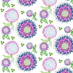 Floral Dream blooms - colors-gray ocean