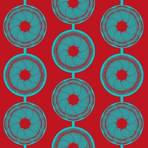 Turquoise and vermilion flower