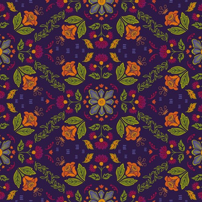 Colorful Folk Flowers