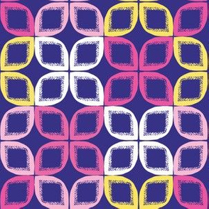 Geometric retro leaf square shapes seamless pattern.