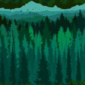 Small scale - PNW Mountain Landscape in Emerald Green