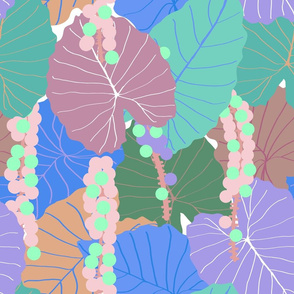 Elephant Ear Leaves + Sea Grapes in Muted Pastel