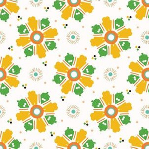 Retro bold floral daisies seamless pattern.