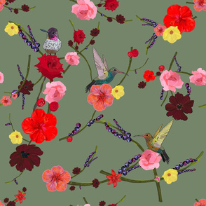 Birds With Hibiscus and Roses Pattern