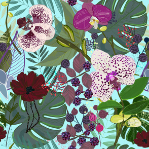 Orchid and cosmos flower botanical floral pattern