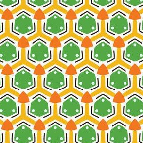 Geometric retro dot shapes seamless pattern.