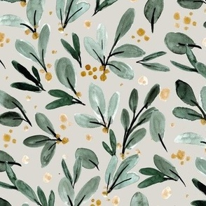 Winter berry sprigs - gold on gray
