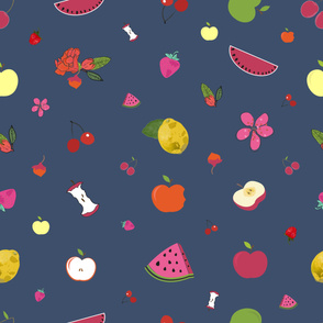 Fruity Pattern With Pomegranate, Apple, Watermelon, Cherry and Strawberry Pattern