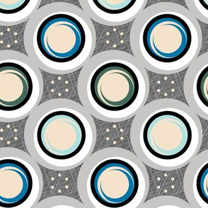 Hatch Dots* (Blues on Pepper Pot) || midcentury modern polka dots texture circles abstract geometric atomic texture upholstery