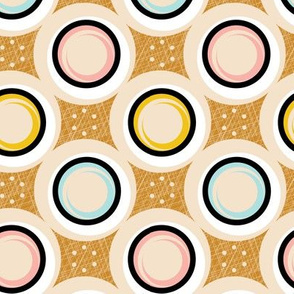 Hatch Dots* (Pastels on Gold Seal) || midcentury modern polka dots texture circles abstract geometric atomic texture upholstery mustard gold pastel baby nursery