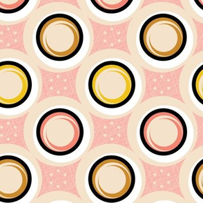 Hatch Dots* (Pinks) || midcentury modern polka dots texture circles abstract geometric atomic texture upholstery mustard gold pastel baby nursery