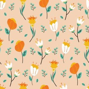 Spring flower bloom seamless pattern.