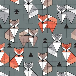 Blocked geometric foxes // small scale // green background white grey orange and brown foxy animals