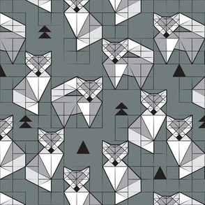 Blocked geometric foxes // small scale // grey background white and grey foxy animals