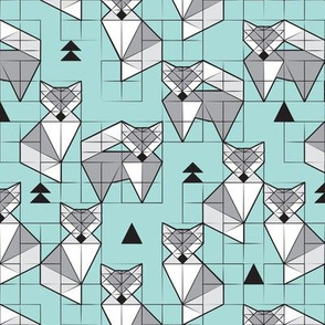 Blocked geometric foxes // small scale // aqua background white and grey foxy animals